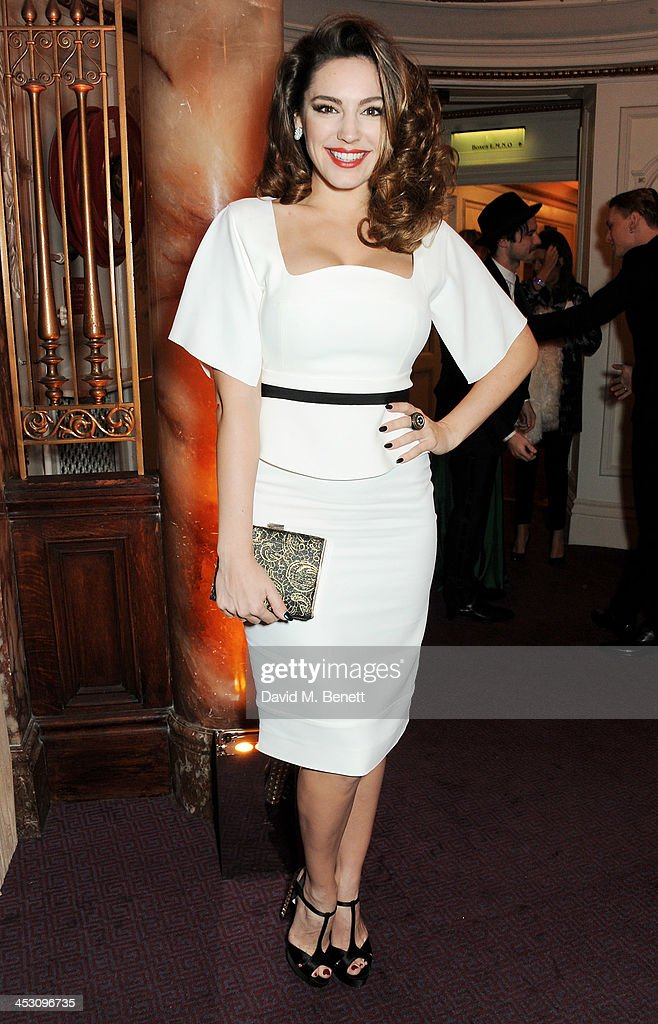 Kelly Brook attends the British Fashion Awards 2013 drinks reception at the London Coliseum on December 2, 2013 in London, England.