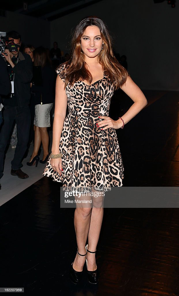 Kelly Brook attends the front row for the Mark Fast show on day 4 of London Fashion Week Spring/Summer 2013 at The Courtyard Show Space on September...