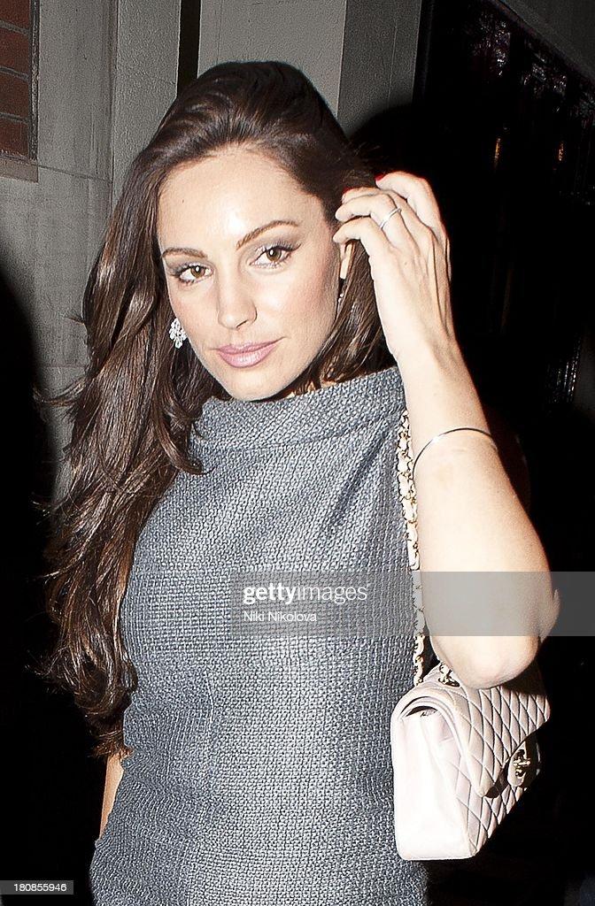 Kelly Brook is sighted leaving lulu Restaurant, Mayfair on September 16, 2013 in London, England.
