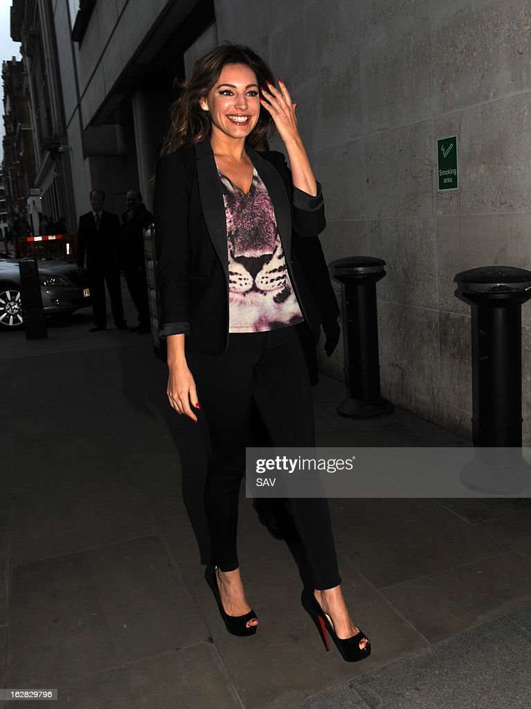 Kelly Brook pictured at Radio 1 on February 28, 2013 in London, England.