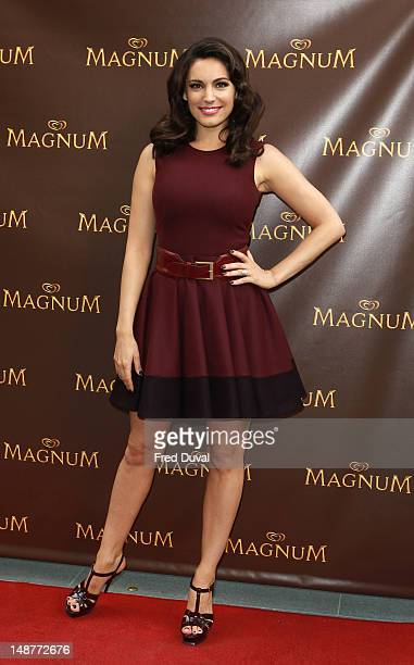 Kelly Brook poses for photos to launch Magnum's new Pleasure Pod at Magnum on July 19 2012 in London England