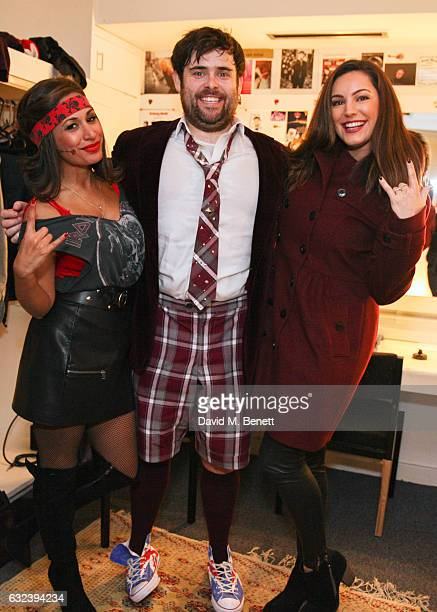 Kelly Brook poses with cast members Preeya Kalidas and David Fynn backstage at the West End production of 'School Of Rock The Musical' at The New...