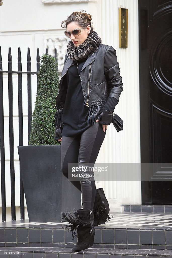 Kelly Brook seen leaving her house and going shopping at Vivienne Westwood on February 13, 2013 in London, England.