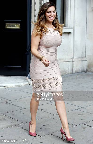 Kelly Brook seen leaving the Kiss Fm Radio Studios on September 9 2014 in London England Photo by Alex Huckle/GC Images