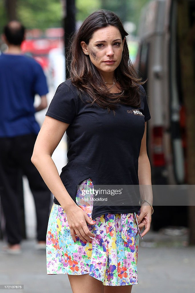 <a gi-track='captionPersonalityLinkClicked' href=/galleries/search?phrase=Kelly+Brook&family=editorial&specificpeople=206582 ng-click='$event.stopPropagation()'>Kelly Brook</a> seen on the set of 'Taking Stock' on July 2, 2013 in London, England.