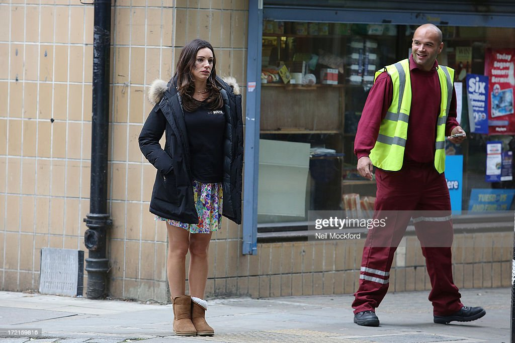 <a gi-track='captionPersonalityLinkClicked' href=/galleries/search?phrase=Kelly+Brook&family=editorial&specificpeople=206582 ng-click='$event.stopPropagation()'>Kelly Brook</a> seen on the set of 'Taking Stock'on July 2, 2013 in London, England.