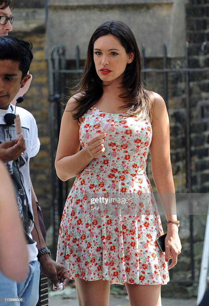 Kelly Brook sighted during filming on July 5, 2013 in London, England.