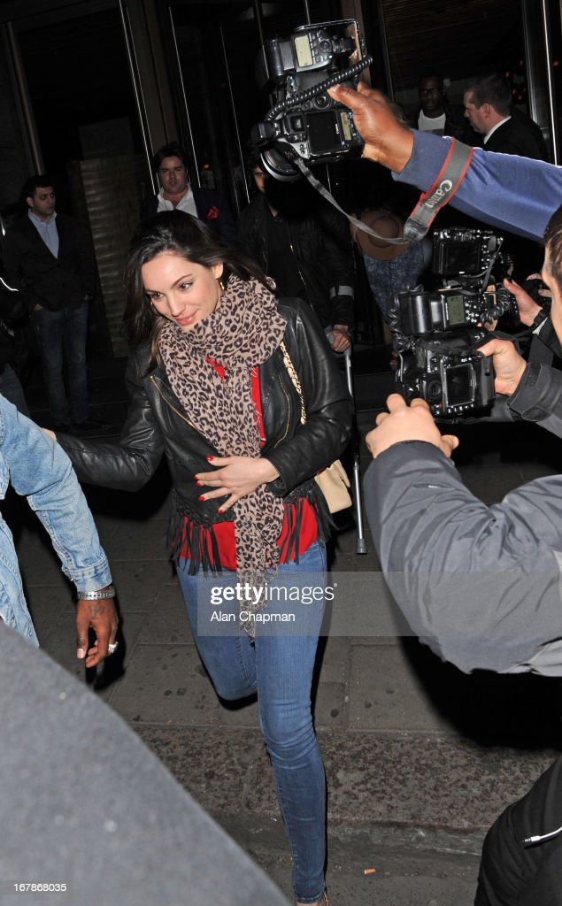 Kelly Brook sighting leaving Novikov Restaurant on May 1, 2013 in London, England.