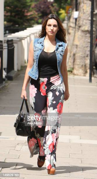 Kelly Brook walks along the street in Maida Vale on July 30 2012 in London England