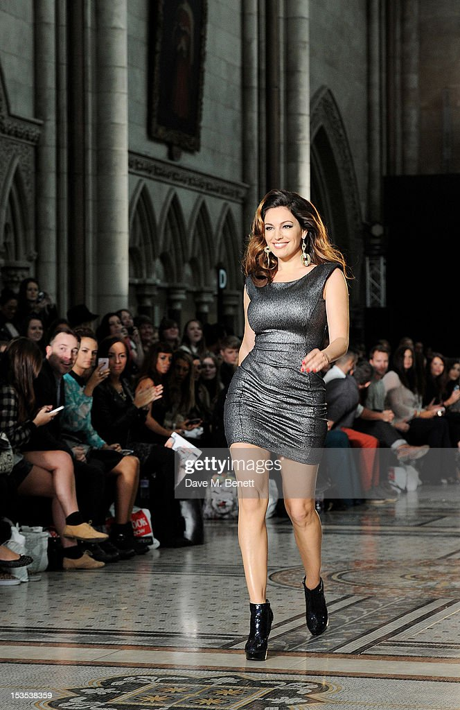 Kelly Brook walks the catwalk during The LOOK Show in association with Smashbox Cosmetics at the Royal Courts of Justice, Strand on October 6, 2012 in London, England.