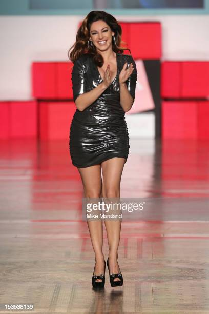 Kelly Brook walks the runway at The Look Show in association with Smashbox Cosmetics at Royal Courts of Justice Strand on October 6 2012 in London...