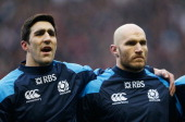 Kelly Brown and Alasdair Strokosch of Scotland line up during the RBS Six Nations match between England and Scotland at Twickenham Stadium on...