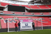 Kelly Brown and Marcelo Bosch of Saracens and World Cup winner Will Greenwood reveal the date that tickets are released for sale 12 September 2014...