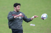 Kelly Brown catches the ball during the Saracens training session held at the Saracens media day held at their training ground on April 22 2014 in St...