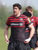 Kelly Brown looks on during the Saracens training session held at the Saracens Training Centre on April 1 2014 in St Albans England