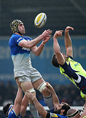 Kelly Brown of Saracens competes for the line out with Mark Easter of Sale Sharks during the Aviva Premiership match between Sale Sharks and Saracens...
