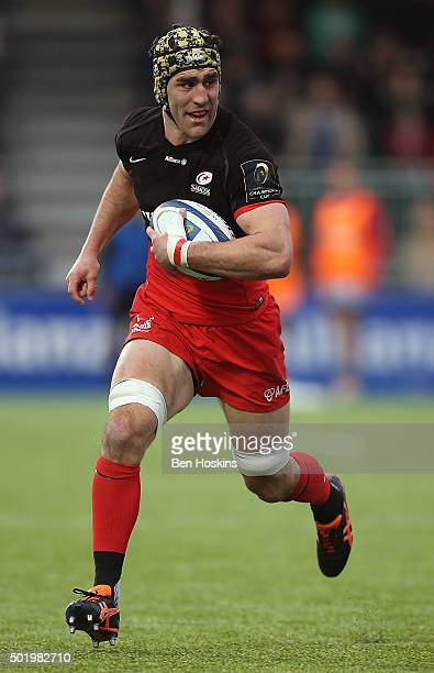 Kelly Brown of Saracens in action during the European Rugby Champions Cup match between Saracens and Oyonnax at Allianz Park on December 19 2015 in...