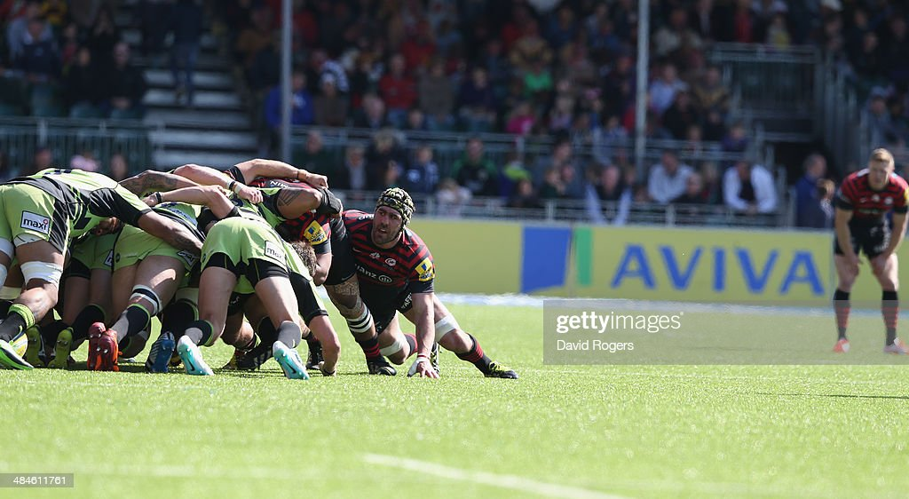 <a gi-track='captionPersonalityLinkClicked' href=/galleries/search?phrase=Kelly+Brown+-+Rugby+Player&family=editorial&specificpeople=211000 ng-click='$event.stopPropagation()'>Kelly Brown</a> of Saracens looks on during the Aviva Premiership match between Saracens and Northampton Saints at Allianz Park on April 13, 2014 in Barnet, England.