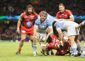 Kelly Brown of Saracens passes the ball during the Heineken Cup Final between Toulon and Saracens at the Millennium Stadium on May 24 2014 in Cardiff...