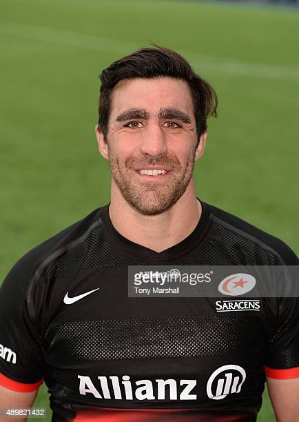 Kelly Brown of Saracens poses for a portrait at the photocall held at Allianz Park on September 24 2015 in Barnet England