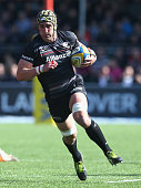 Kelly Brown of Saracens runs with the ball during the Aviva Premiership match between Saracens and Leicester Tigers at Allianz Park on April 11 2015...