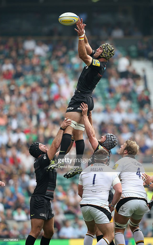 <a gi-track='captionPersonalityLinkClicked' href=/galleries/search?phrase=Kelly+Brown+-+Rugby+Player&family=editorial&specificpeople=211000 ng-click='$event.stopPropagation()'>Kelly Brown</a> of Saracens wins the lineout during the Aviva Premiership match between Saracens and Wasps at Twickenham Stadium on September 6, 2014 in London, England.