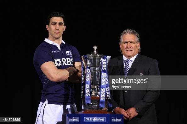 Kelly Brown of Scotland and Head Coach Scott Johnson pose for a photo during the RBS Six Nations Launch at The Hurlingham Club on January 22 2014 in...