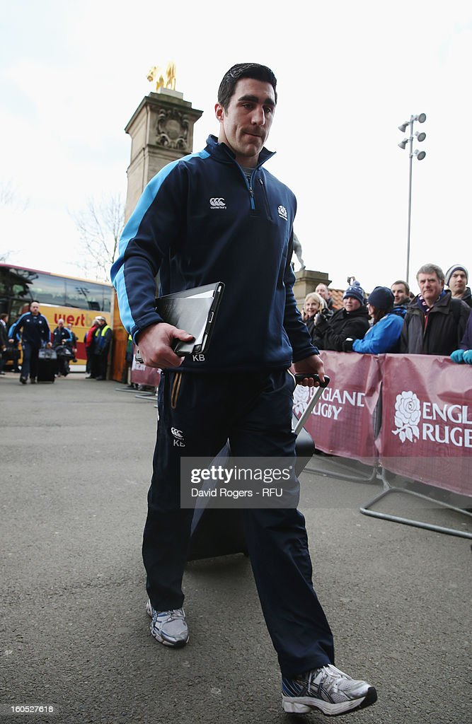 Kelly Brown of Scotland arrives for the RBS Six Nations match between England and Scotland at Twickenham Stadium on February 2, 2013 in London, England.