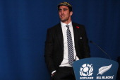 Kelly Brown of Scotland speaks following the international rugby match between Scotland and New Zealand at Murrayfield Stadium on November 11 2012 in...