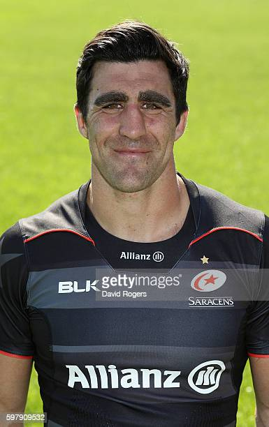 Kelly Brown poses for a portrait during the Saracens squad photocall for the 20162017 Aviva Premiership Rugby season on August 30 2016 in St Albans...