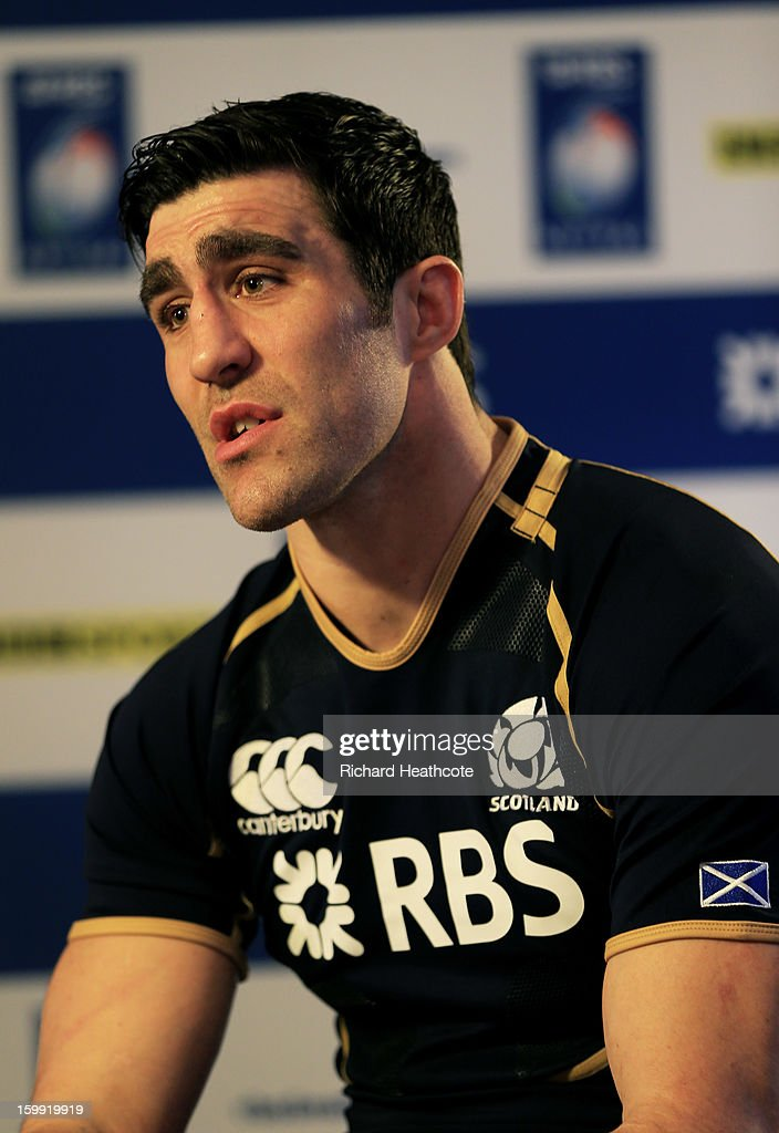 Kelly Brown the Scotland captain speaks with the media during the RBS Six Nations launch at The Hurlingham Club on January 23, 2013 in London, England.
