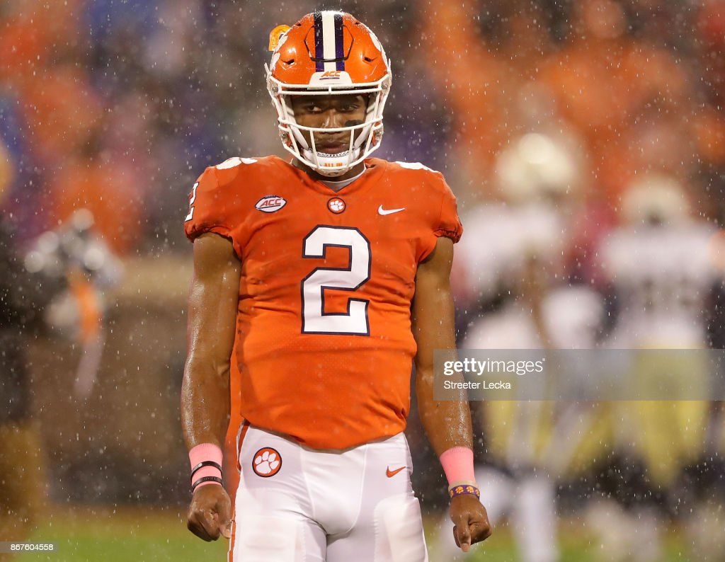 Kelly Bryant #2 of the Clemson Tigers warms up before their game against the Georgia Tech Yellow Jackets at Memorial Stadium on October 28, 2017 in Clemson, South Carolina.