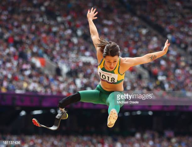 Kelly Cartwright of Australia competes in the Women's Long Jump F42/44 Final on day 4 of the London 2012 Paralympic Games at Olympic Stadium on...