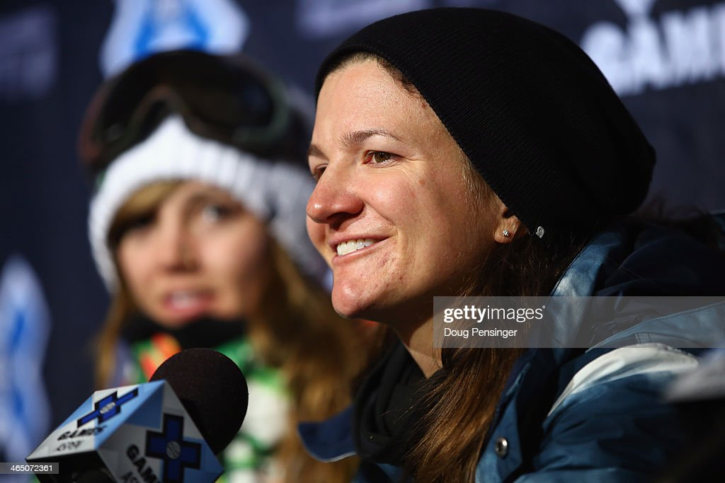 Kelly Clark attends a press conference after winning the women's Snowboard Superpipe at Winter X-Games 2014 Aspen at Buttermilk Mountain on January 25, 2014 in Aspen, Colorado.