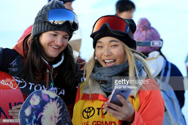 Kelly Clark of the United States and Chloe Kim of the United States share a moment after the finals of the FIS Snowboard World Cup 2018 Ladies'...