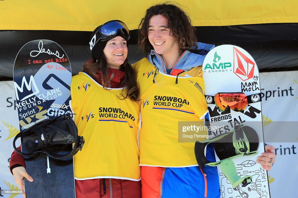 Kelly Clark of the USA and Luke Mitrani of the USA take the podium as they earned the overall points leader's bibs with there finishes in the FIS Snowboard Halfpipe World Cup at the Sprint U.S. Grand Prix at Park City Mountain on February 1, 2013 in Park City, Utah.