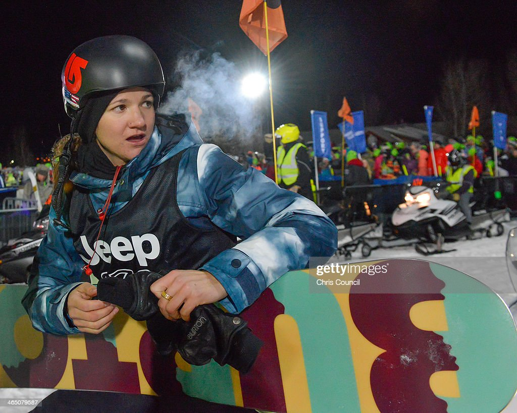 Kelly Clark sits on the back of a snowmobile as she prepares for her second run in the Winter X-Games 2014 women's Snowboard Superpipe final at Winter X-Games 2014 Aspen at Buttermilk Mountain on January 25, 2014 in Aspen, Colorado. Clark won the gold medal in the event.