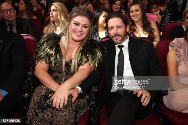 Kelly Clarkson and Brandon Blackstock attend the 2017 American Music Awards at Microsoft Theater on November 19 2017 in Los Angeles California