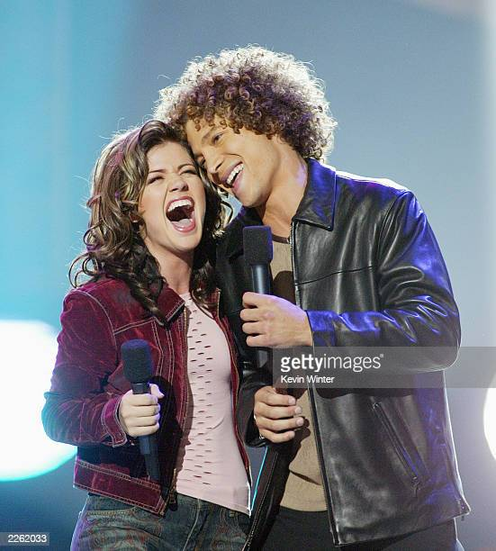 Kelly Clarkson and Justin Guarini at FOXTV's 'American Idol' finale at the Kodak Theatre in Hollywood Ca Wednesday Sept 4 2002 Photo by Kevin...