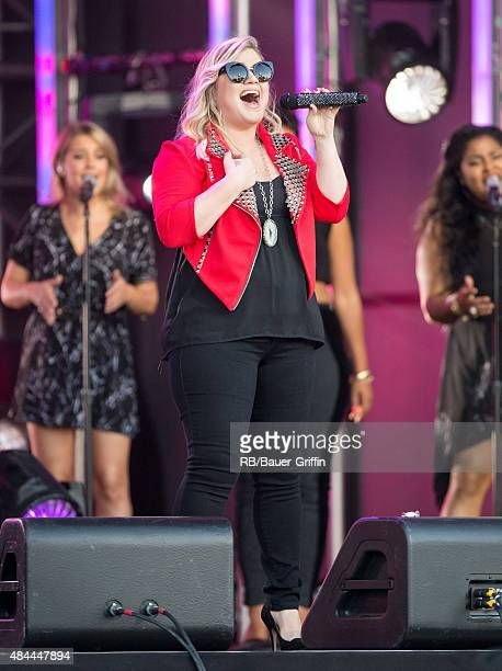 Kelly Clarkson is seen at 'Jimmy Kimmel Live' on August 18 2015 in Los Angeles California