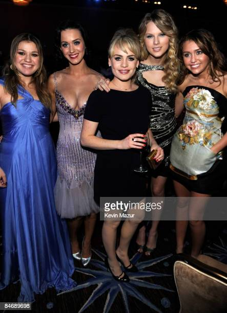 *EXCLUSIVE* Kelly Clarkson Katy Perry Duffy Taylor Swift and Miley Cyrus attends the 2009 GRAMMY Salute To Industry Icons honoring Clive Davis at the...
