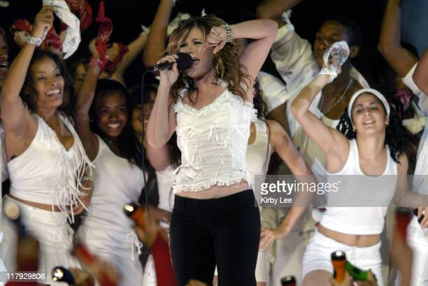 Kelly Clarkson performs at halftime during the FedEx Orange Bowl at Pro Player Stadium in Miami Florida on January 4 2005