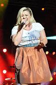 Kelly Clarkson performs during Mardi Gras celebration at Universal Orlando on February 21 2015 in Orlando Florida