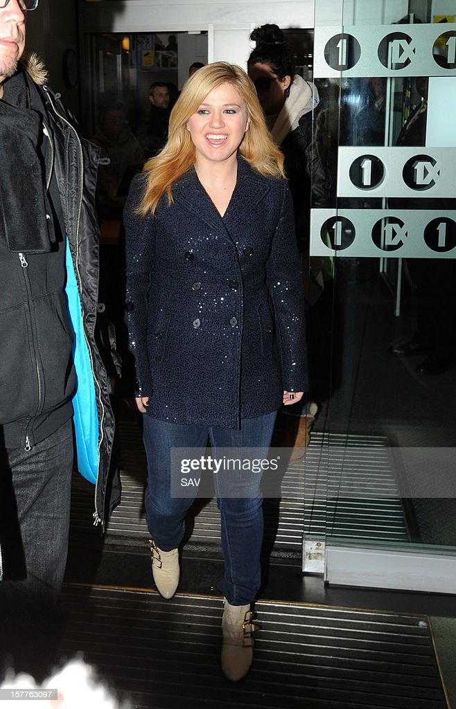 Kelly Clarkson sighted at BBC Radio 1 studios on December 6, 2012 in London, England.