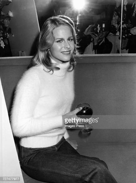 Kelly Collins sister of Bo Derek unveils the Zena Jeans campaign circa 1980 in New York City