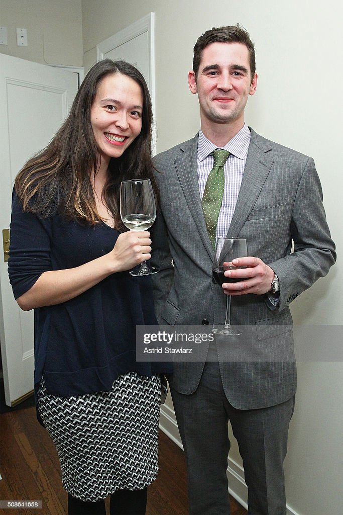 Kelly Conley (L) and Sid Goudie attend an intimate evening of friends and colleagues at Mr. Colin Dougherty's New York City apartment on February 5, 2016 in New York City.