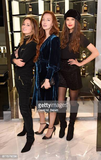Kelly Eastwood Olivia Grant and Sarah Ann Macklin attend the opening of the first TOM FORD global beauty store at Covent Garden on November 22 2017...