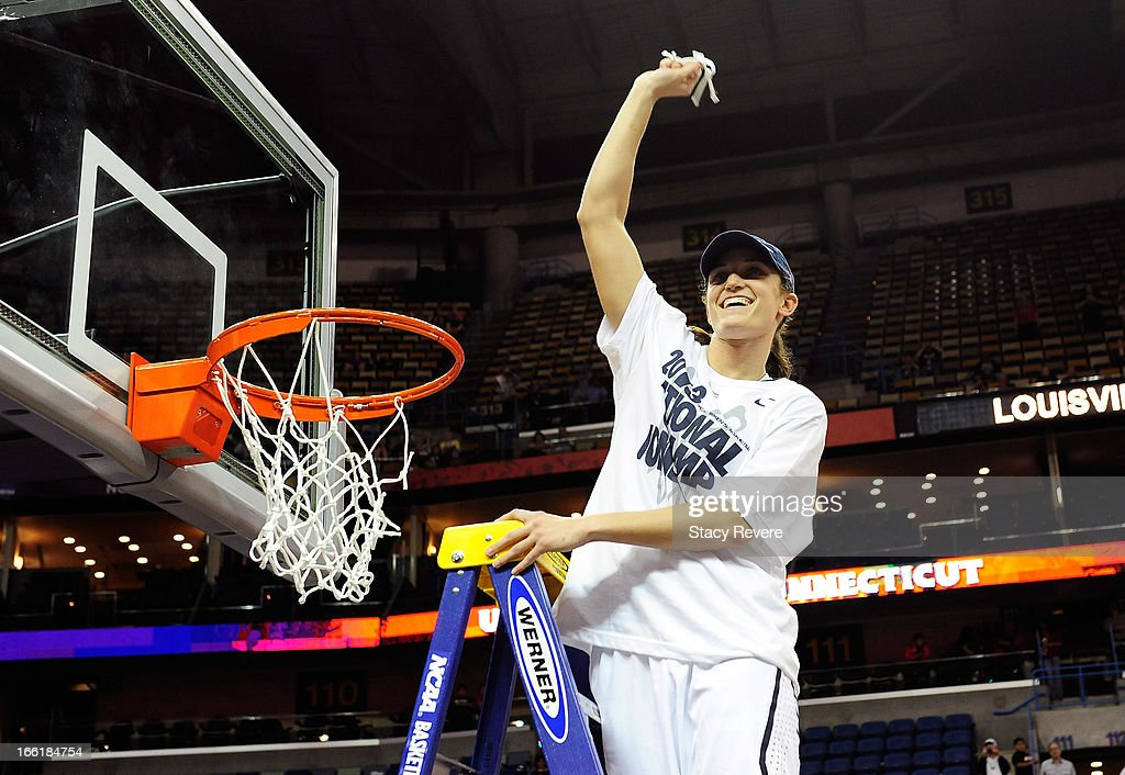 Kelly Faris #34 of the Connecticut Huskies cuts down the net after defeating the Louisville Cardinals during the 2013 NCAA Women's Final Four Championship at New Orleans Arena on April 9, 2013 in New Orleans, Louisiana.