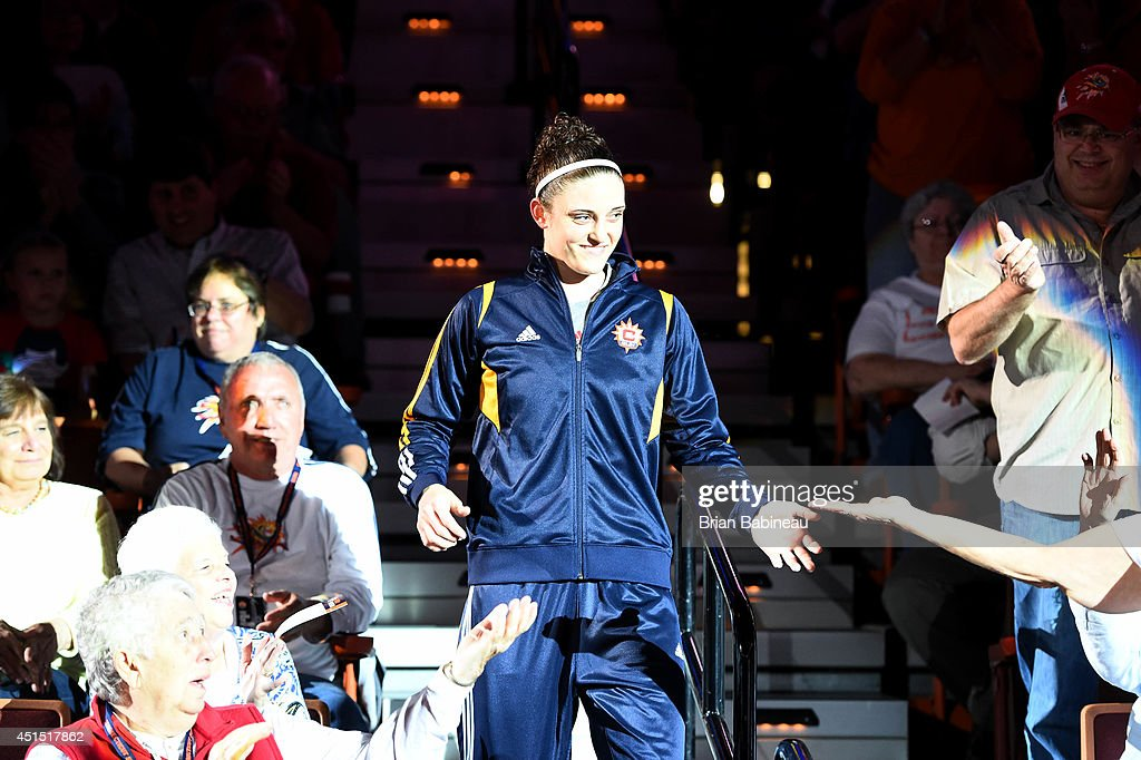 Kelly Faris #34 of the Connecticut Sun gets introduced before a game against the New York Liberty on May 18, 2014 at the Mohegan Sun in Uncasville, Connecticut.