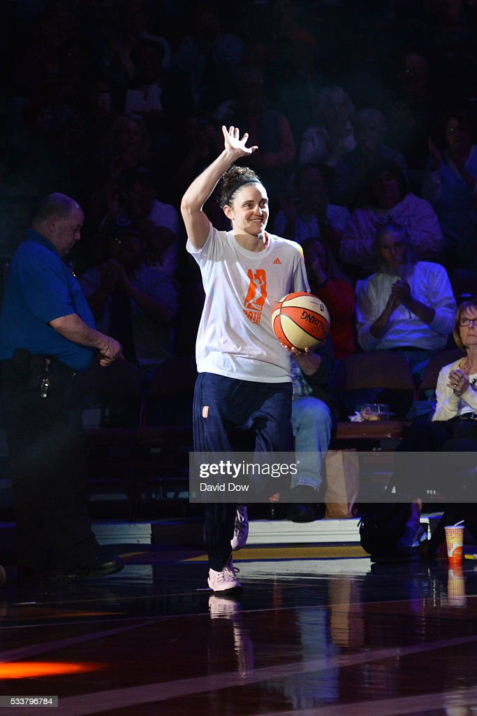 Kelly Faris of the Connecticut Sun gets introduced before the game against the Washington Mystics on May 21 2016 at the Mohegan Sun Arena in...